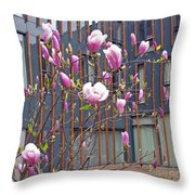 Pink Magnolia. Square Format Throw Pillow