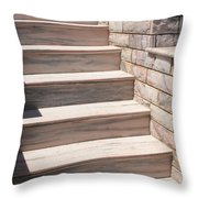 Pink Marble Staircase In Patmos Greece Throw Pillow