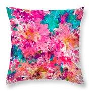 Pink Mums Throw Pillow