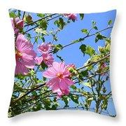 Pink Musk Mallow Throw Pillow