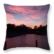 Pink N Blue Sunset On The Chesapeake Bay Va Throw Pillow