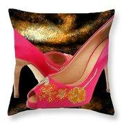 Pink Peeptoe Pumps With Swarovski Crystals Throw Pillow