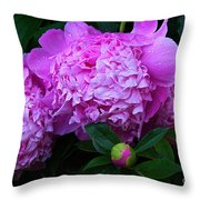 Pink Peonies In The Rain Throw Pillow