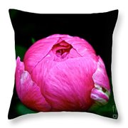 Pink Peony Bud Throw Pillow