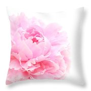 Pink Peony In Glass Vase Throw Pillow