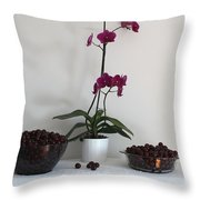 Pink Phalaenopsis Orchid And Sour Cherries Throw Pillow