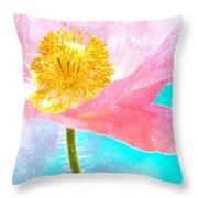 Pink Poppy On Blue Throw Pillow