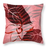 Pink Poster Floral II Throw Pillow