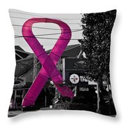 Pink Ribbon For Breast Cancer Awareness Throw Pillow