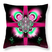 Pink Ribbons And Bow Fractal 75 Throw Pillow