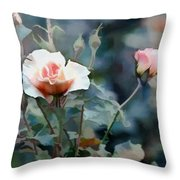 Pink Rose Bush Throw Pillow