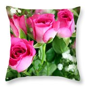 Pink Roses And Gypsophila Bouquet Throw Pillow