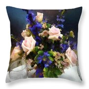 Pink Roses And Purple Delphinium Throw Pillow