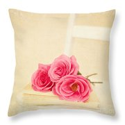 Pink Roses Laying On A Book Throw Pillow