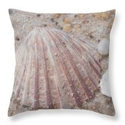 Pink Scallop Shell Throw Pillow