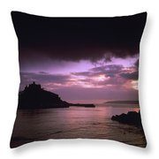 Pink Sky Over St. Michaels Mount Throw Pillow