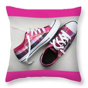 Pink Sneakers Throw Pillow