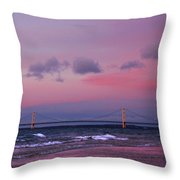 Pink Sunset Over Mackinac Michigan Throw Pillow