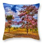 Pink Trees Throw Pillow