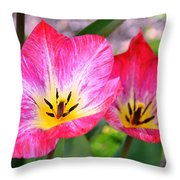 Pink Tulip Flowers Throw Pillow