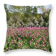 Pink Tulips And Blossom 1 Throw Pillow