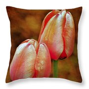 Pink Tulips Throw Pillow