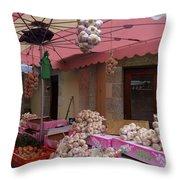 Pink Umbrella And Garlic Throw Pillow