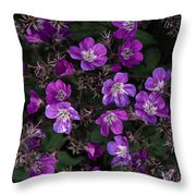 Pinkish-purple Wildflowers Geranium Throw Pillow