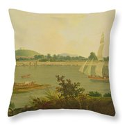 Pinnace Sailing Down The Ganges Past Monghyr Fort Throw Pillow