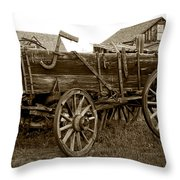 Pioneer Freight Wagon - Nevada City Ghost Town Throw Pillow by Daniel Hagerman