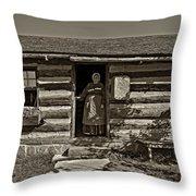 Pioneer Greeting Monochrome Throw Pillow