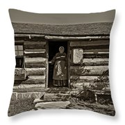 Pioneer Greeting Monochrome Throw Pillow
