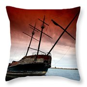 Pirate Ship 2 Throw Pillow by Cale Best