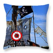 Pirate Ship With Target Throw Pillow by Garry Gay