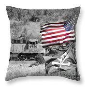 Pirates And Trains Black And White Throw Pillow