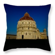 Pisa Tower And Baptistery Cathedral Throw Pillow