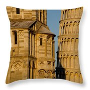 Pisa Tower And Cathedral Throw Pillow