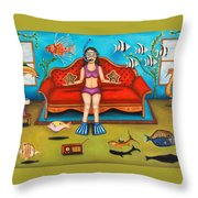 Pisces 3 Throw Pillow by Leah Saulnier The Painting Maniac