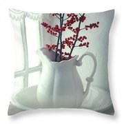Pitcher With Red Berries  Throw Pillow