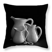 Pitchers By The Window In Black And White Throw Pillow