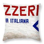 Pizzeria Advertising Sign Throw Pillow