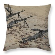 Pk Machine Guns And Spent Cartridges Throw Pillow