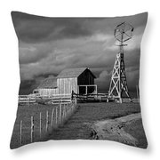 Plains Frontier Farm And Windmill At 1880's Town In South Dakota Throw Pillow