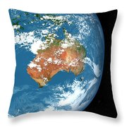 Planet Earth Showing Clouds Throw Pillow
