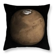 Planet Mars Slightly Tilted To Show Throw Pillow