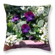 Planter Of Purple Pansies And White Alyssum Throw Pillow