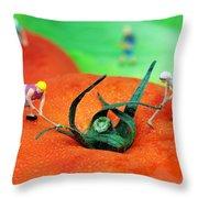Planting On Tomato Field Throw Pillow