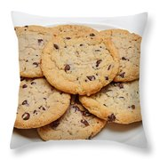 Plate Of Chocolate Chip Cookies Throw Pillow