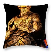 Player In Bronze Throw Pillow by Christopher Holmes