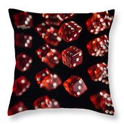 Playing Dice Being Rolled Throw Pillow